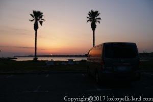 名洗浜海水浴場の夕日